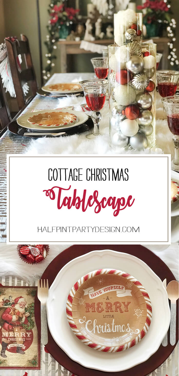 Looking for some good ol' fashioned Christmas decor? You'll love this Cozy Cottage Christmas Tablescape on Halfpint Design. Farmhouse Style Christmas table, Vintage Christmas.