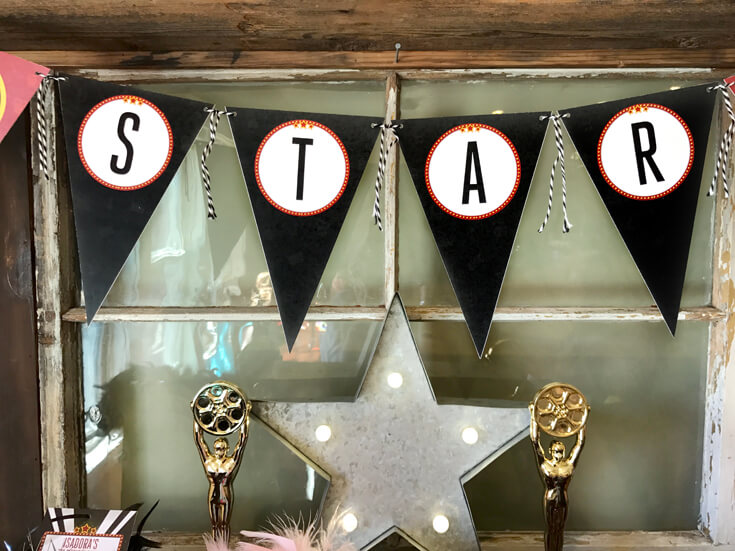 Star banner for a Movie Star Party. Halfpint Design. Movie party, Oscar party, Rock Star party ideas.