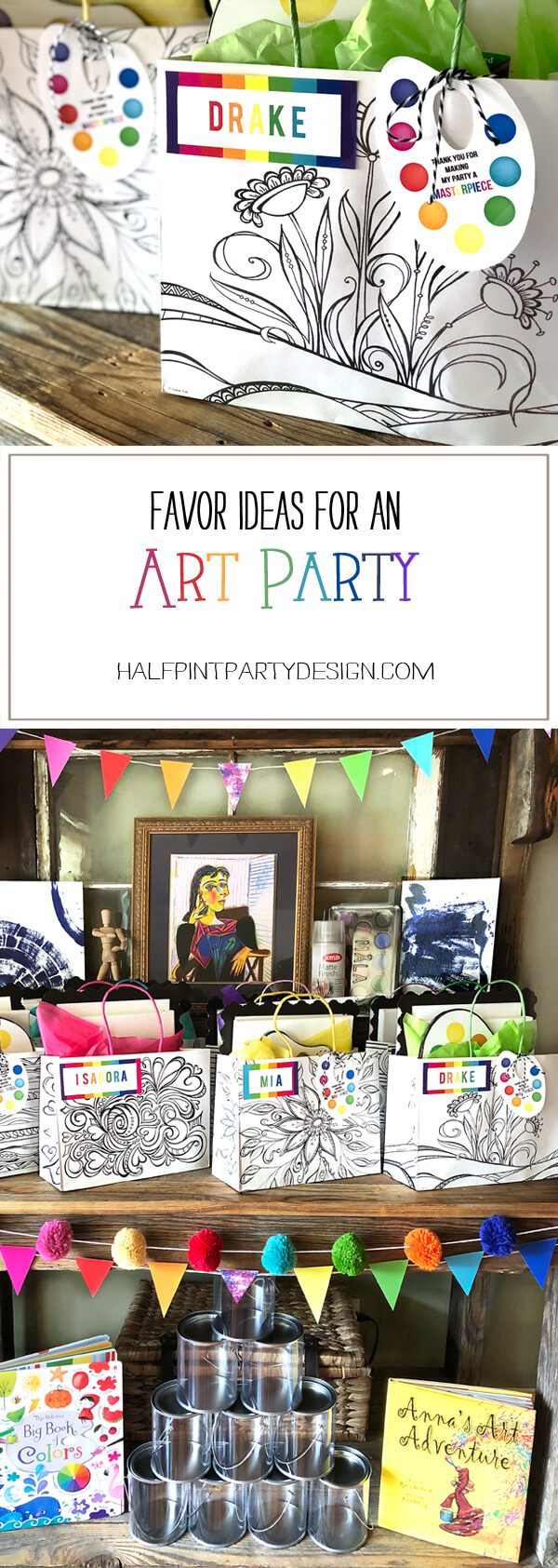 Pinterest Image of Rustic wood hutch set up as a favor table with art supplies, Black and white floral bags with rainbow name tags and a personalized paint palette tag as Art Party Favors