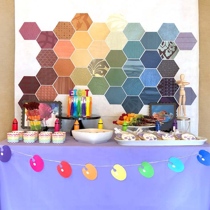 A colorful food table is a must for an Art themed birthday party where you can party like Picasso! Halfpint Design. Art party, painting party, rainbow party.