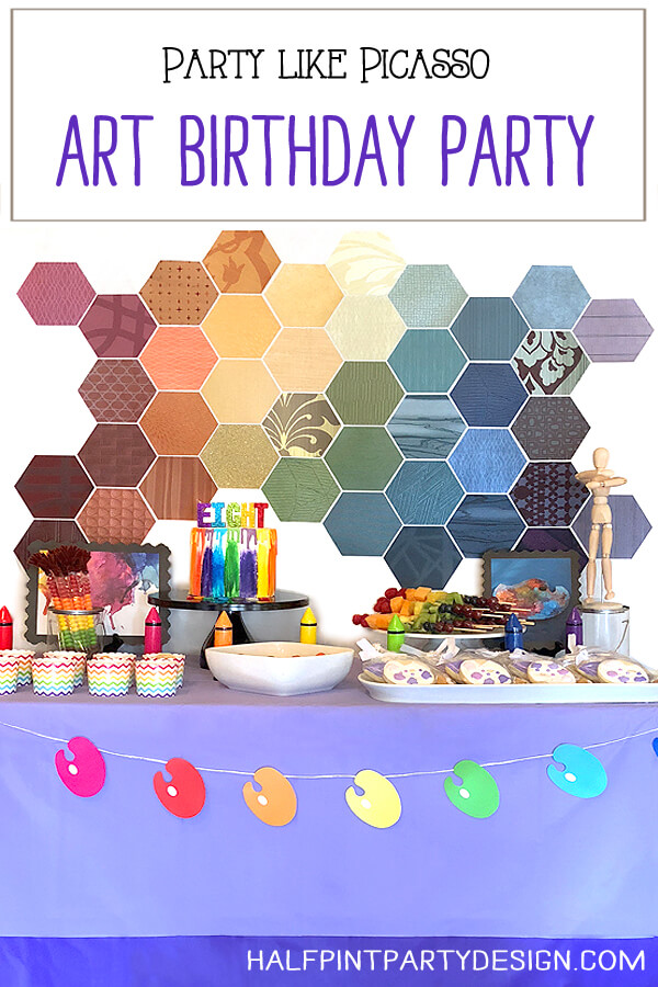 Great ideas for an amazing art themed birthday party where you can party like Picasso! Halfpint Design. Art party, painting party, rainbow party.