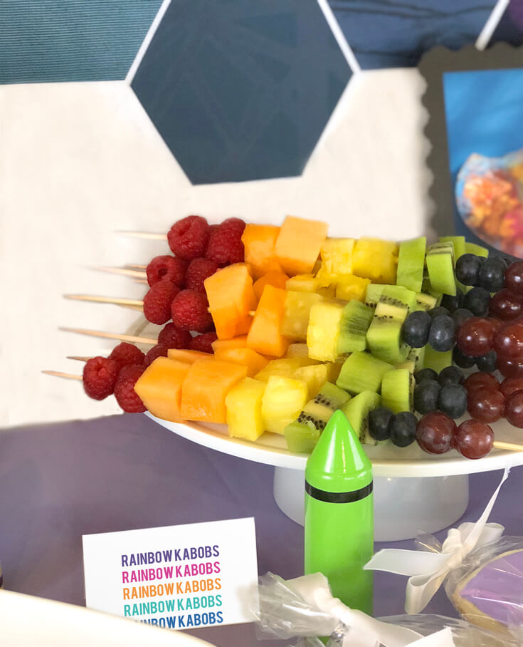 Rainbow fruit kabobs for an Art themed birthday party where you can party like Picasso! Halfpint Design. Art party, painting party, rainbow party.