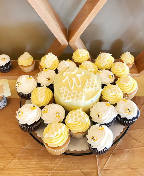 Bee themed Cake and cupcakes for mommy to be baby shower