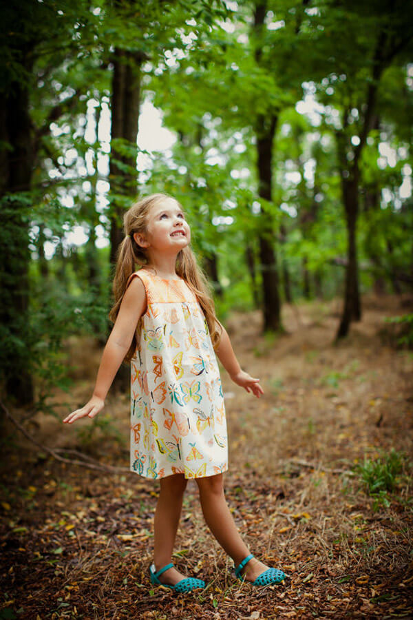 Butterfly print shift dress for young girl for an Enchanted Butterfly party.