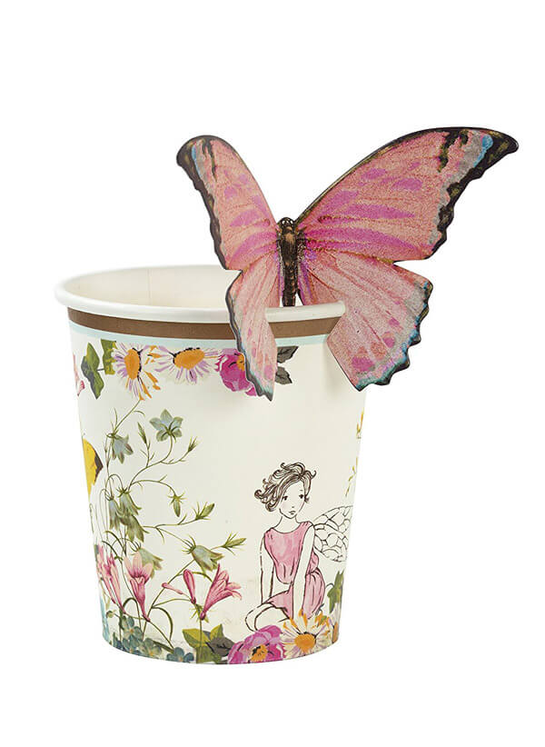 Cup printed with flowers and fairy with large butterfly perching on rim for an enchanted butterfly party.