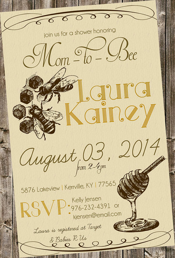 Mom to bee baby shower vintage looking invitation