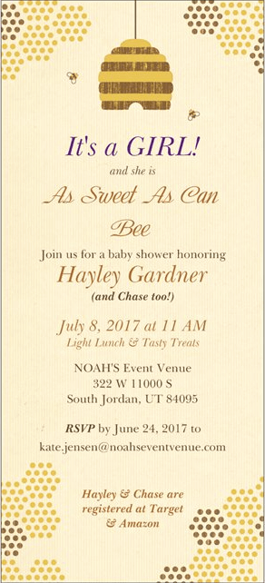 Sweet as Can Bee Baby Shower Invitation for Mommy to Bee