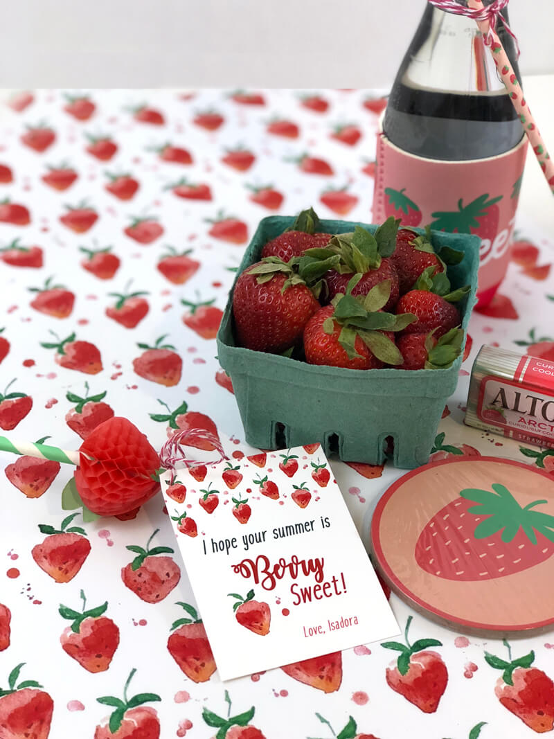 Last minute Berry Sweet Summer Teacher Gift of strawberries and cute label