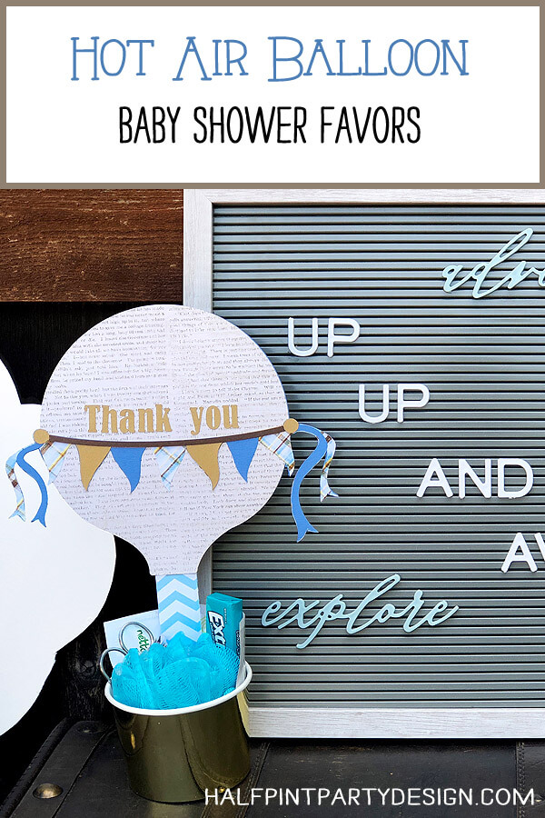 Hot Air Balloon Baby Shower Favor thank you sign with Up up and away letter board message