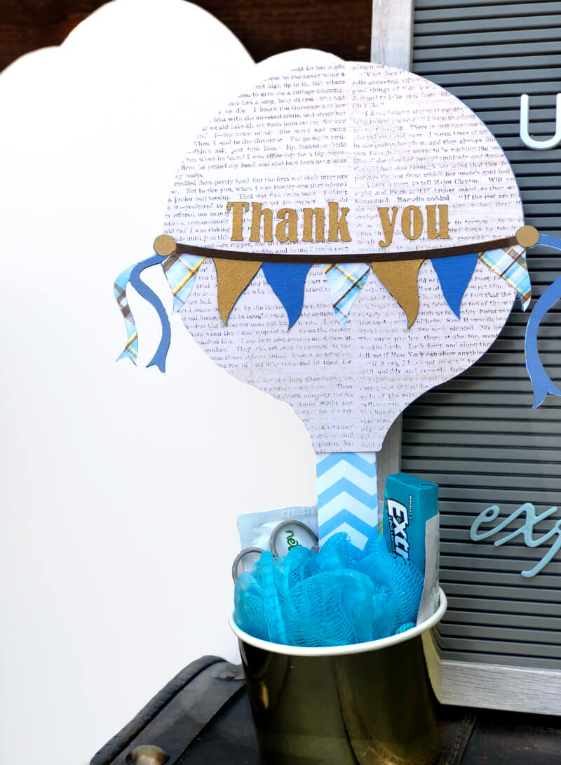 Hot Air Balloon Baby Shower Favor thank you sign