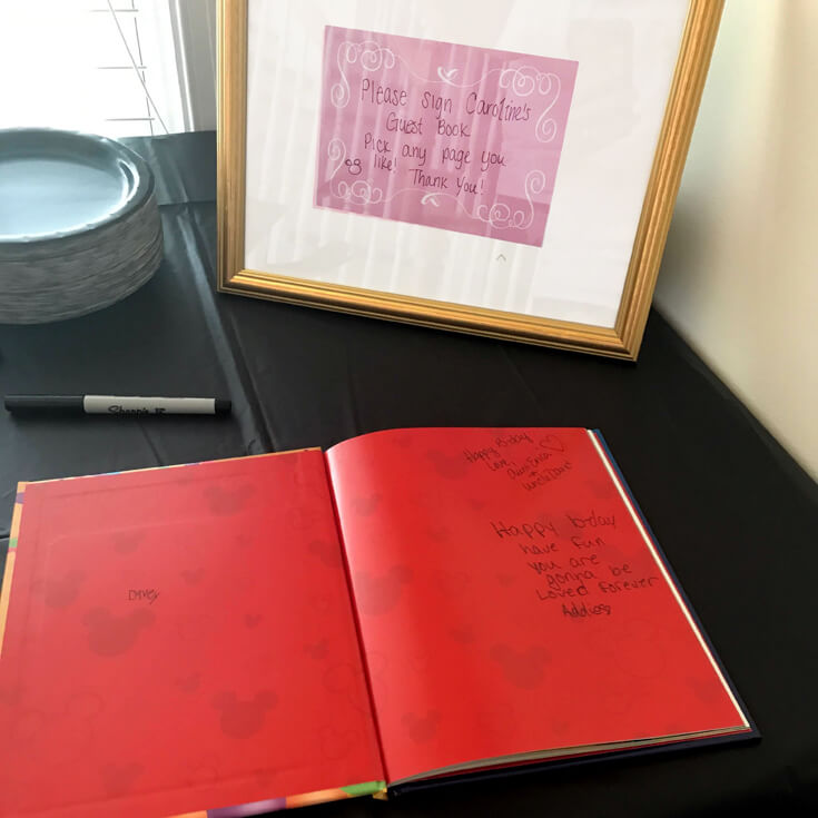 Guest book for Minnie Mouse first birthday party
