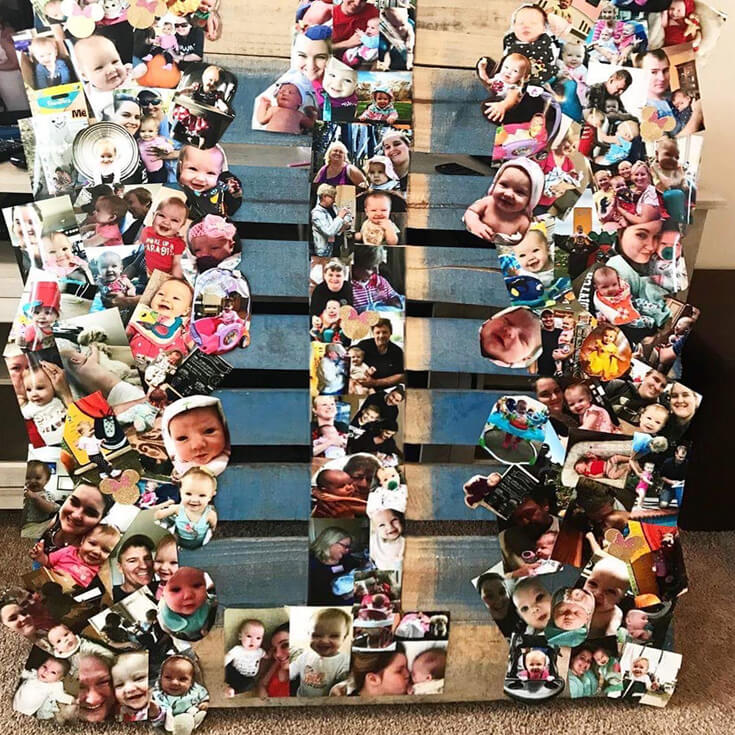 Pallet art with number 1 for Minnie Mouse first birthday party