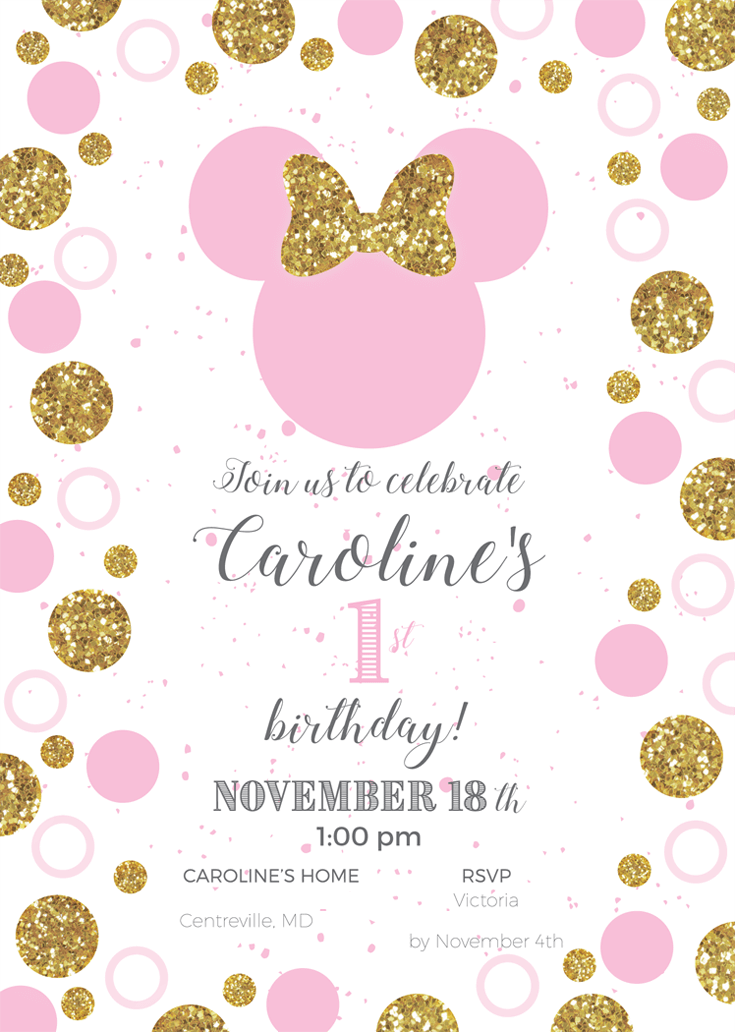 Minnie mouse first birthday party halfpint party design custom party invitation for minnie mouse first birthday party filmwisefo