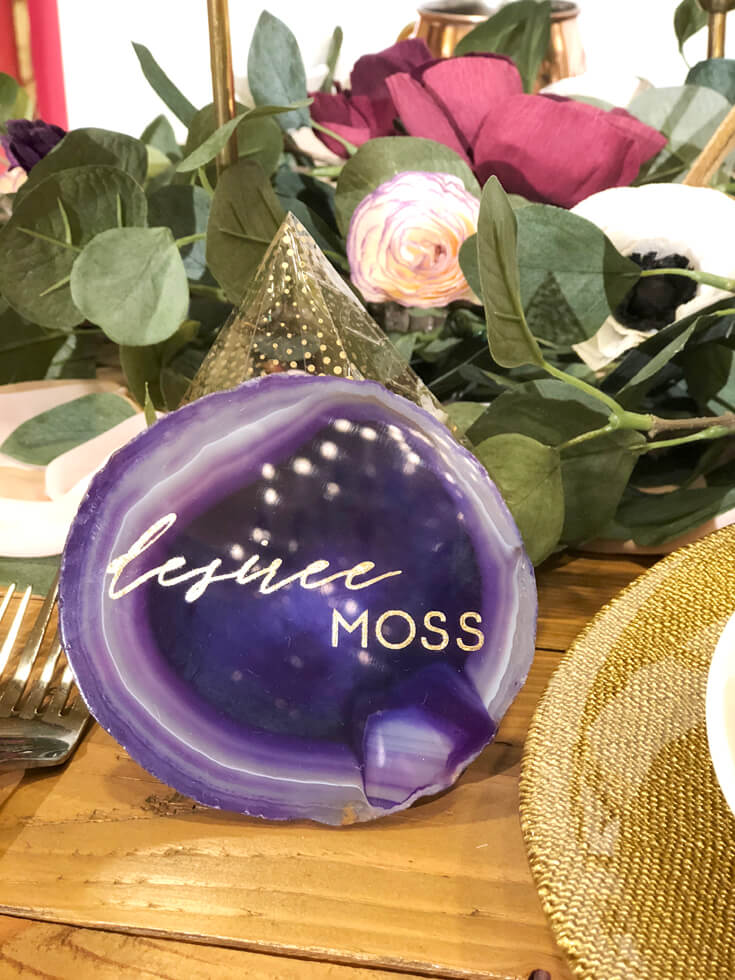 Ultraviolet purple agate slice with gold lettering used as a place card Cricut made DIY gift ideas