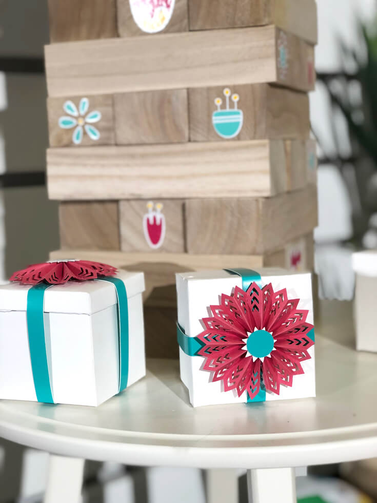Bright fun favor boxes and personalized Jenga for Cricut made DIY Gift Ideas