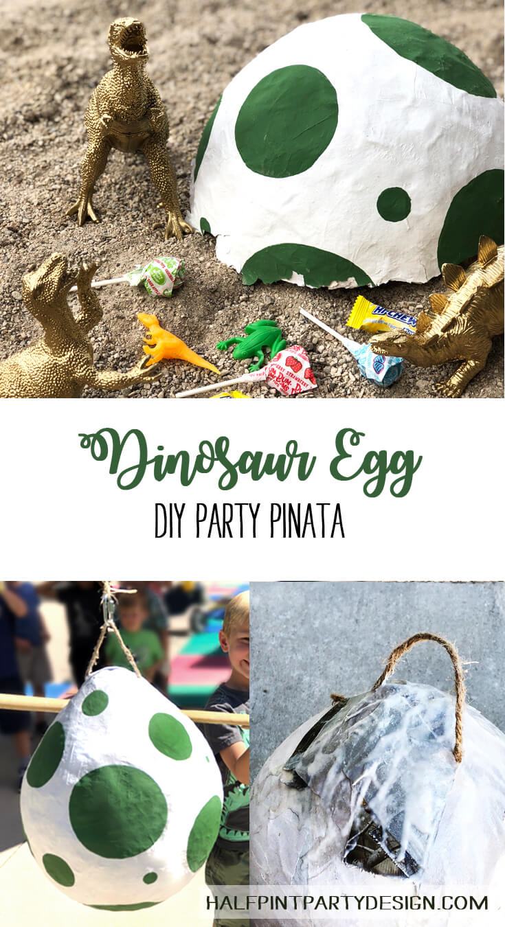 Pinterest image for DIY dino egg pinata for a dinosaur birthday party
