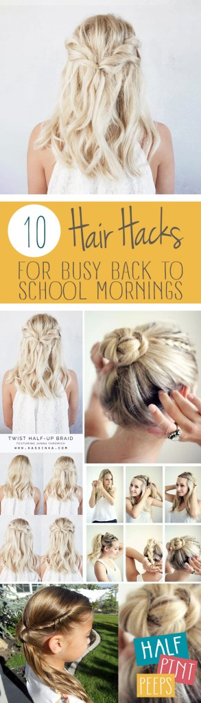 10 Hair Hacks for Busy Back to School Mornings| Hair Hacks, Back to School Hair Hacks, Hair, Back To School Hacks, Morning Hacks, Hair, Hair Ideas, Girls Hair Ideas, Popular Pin. #backtoschool #hairstyle #hairstylesforkids #kidstuff #backtoschooltips