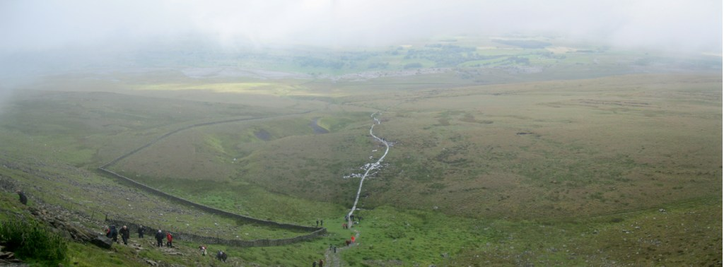 The view down the valley from Ingleborough