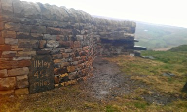 photo of Ilkley flag stone built into a wall