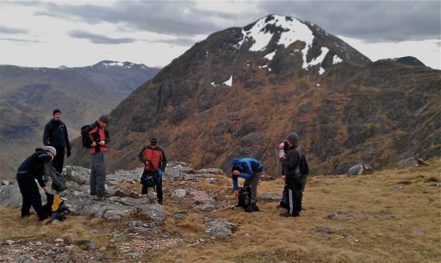 Hiking team on Buchaille Etive Mor