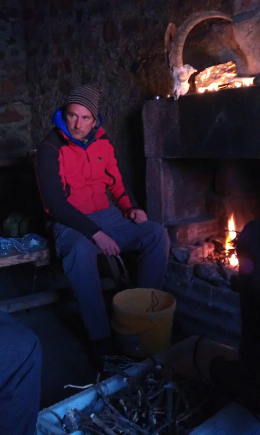 Fireside in Guirdil Bothy Rum