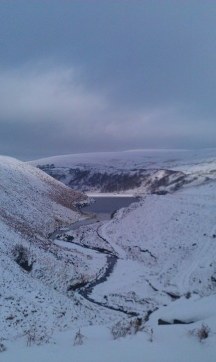 Lookig down to Butterley Reservoir in the Snow