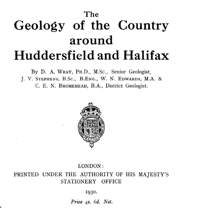 Title page of The Geology of the Country around Huddersfield and Halifax 1930