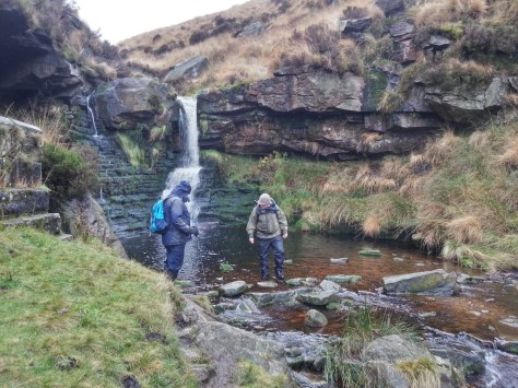 Crossing waterfall on Marsden Moor