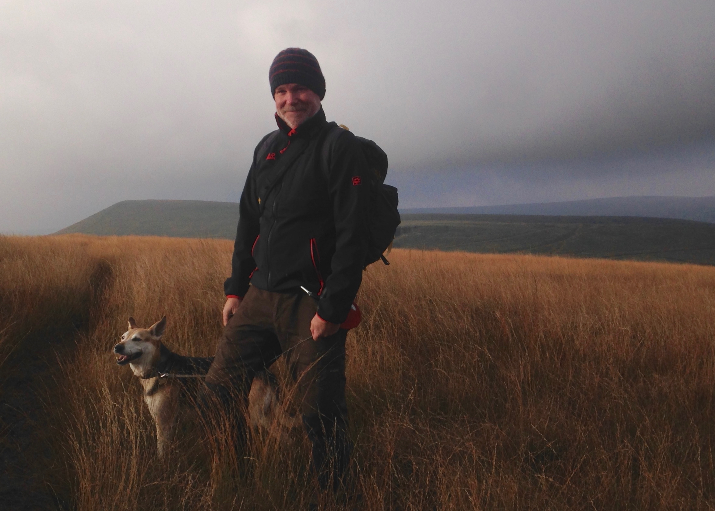 Mark Kelly Halfway Hike blogger and dog in Marsden