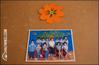 A class photo on a cork board at the school.