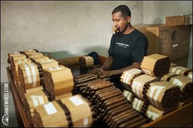 Esteban Disla inspects RoMa Craft Tobac cigars at Fabrica de Tabacos NicaSueño S.A.