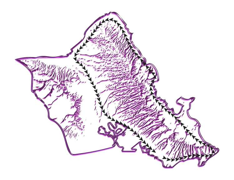 Oahu South Shore and North Shore Map