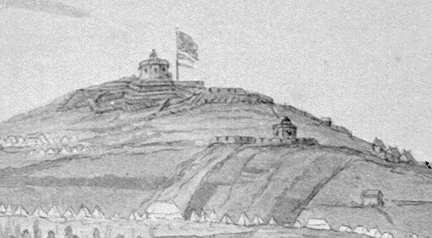 Fort Massey and Citadel Hill Blockhouses, 1780, from Point Pleasant.