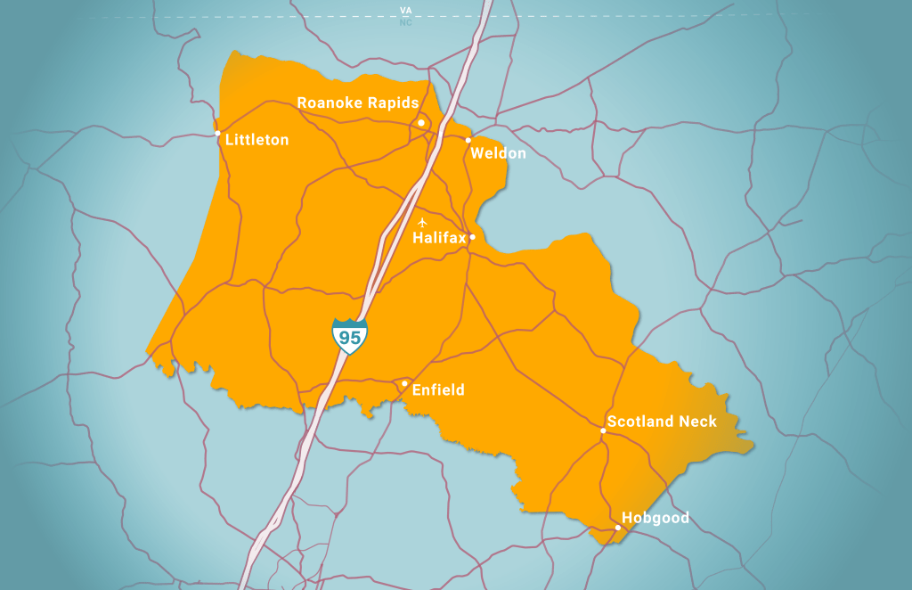Halifax County map showing cities in Halifax County and relationship to Interstate 95