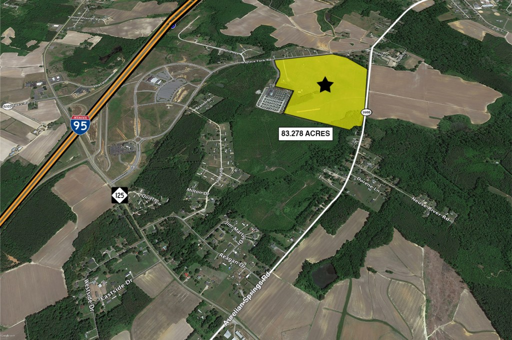 satellite map showing property boundaries and close proximity to interstate 95.  property labeled with 83.278 acres