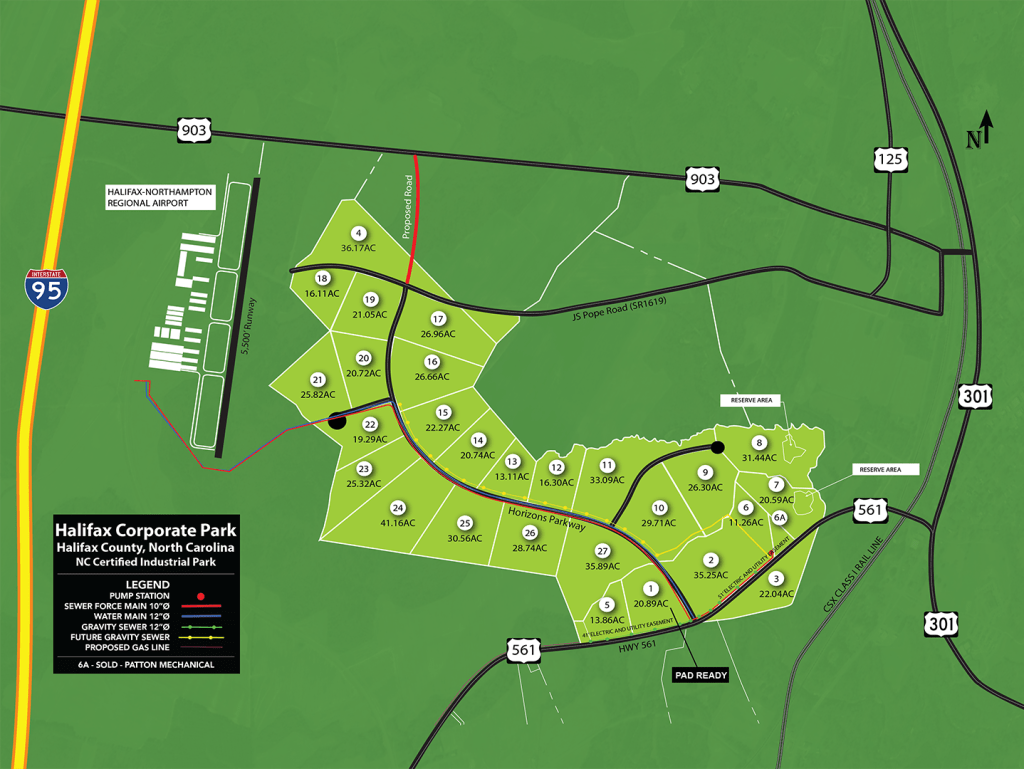 map showing lot boundaries and numbers, highway access, airport access, and utilities
