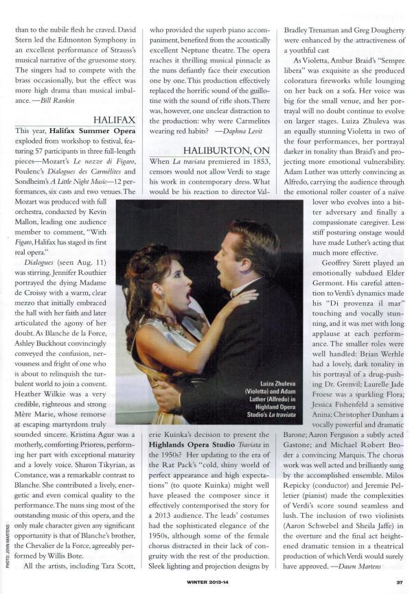 HSOF2013 review opera canada