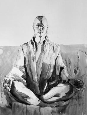 Sachiko after, Ink on Terraskin, 64x88cm