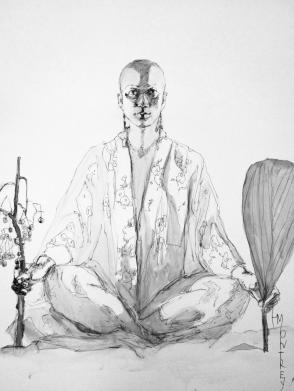 Sachiko before, Ink on Terraskin, 64x88cm
