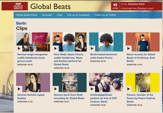 Website with videos from the BBC Global Beats Show from Berlin in 2017