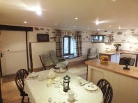 Breakfast in the kitchen dining room , Byre Cottage