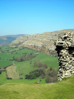 Eglwyseg rocks from Dinas Bran