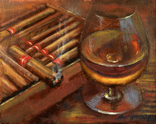 Whiskey with cigar box original painting for sale learn for Original artwork for sale online
