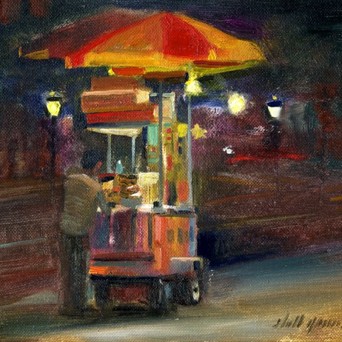 new york city street vendor canvas print