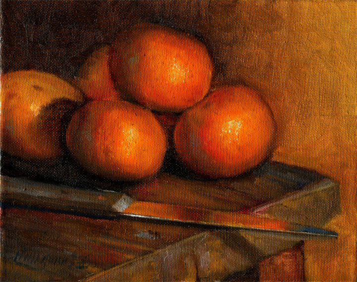 Tangerines with Knife on Antique Table