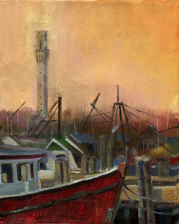 Provincetown Lobster Boat 10x8 in. .Oil on canvas