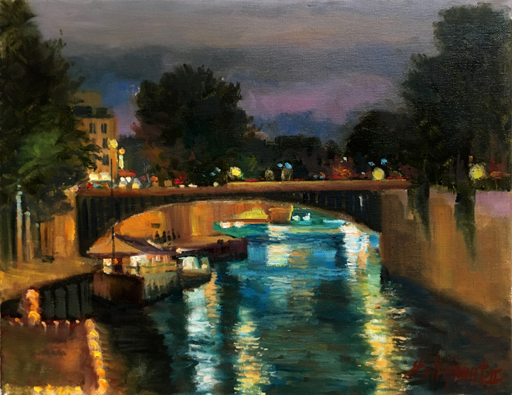 River Seine Paris France 11x14 in.Original Oil on stretched canvas