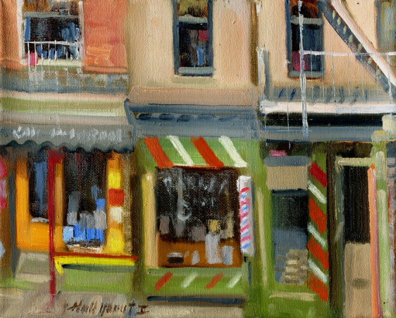 New York City Barbershop, Delancey Street 8x10 in. Oil on canvas