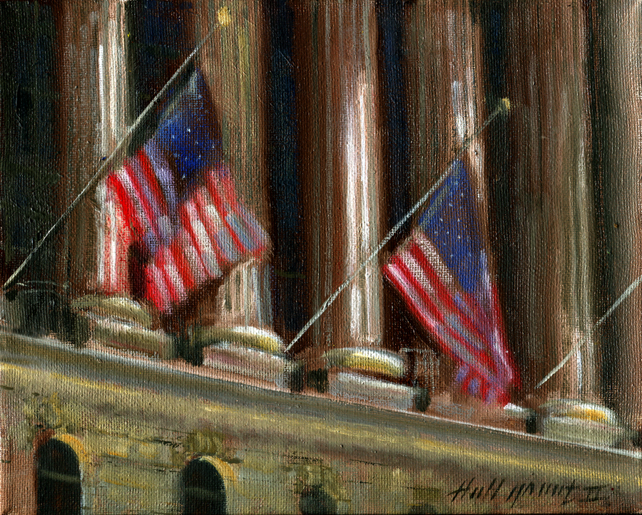 New York Stock Exchange with US Flags