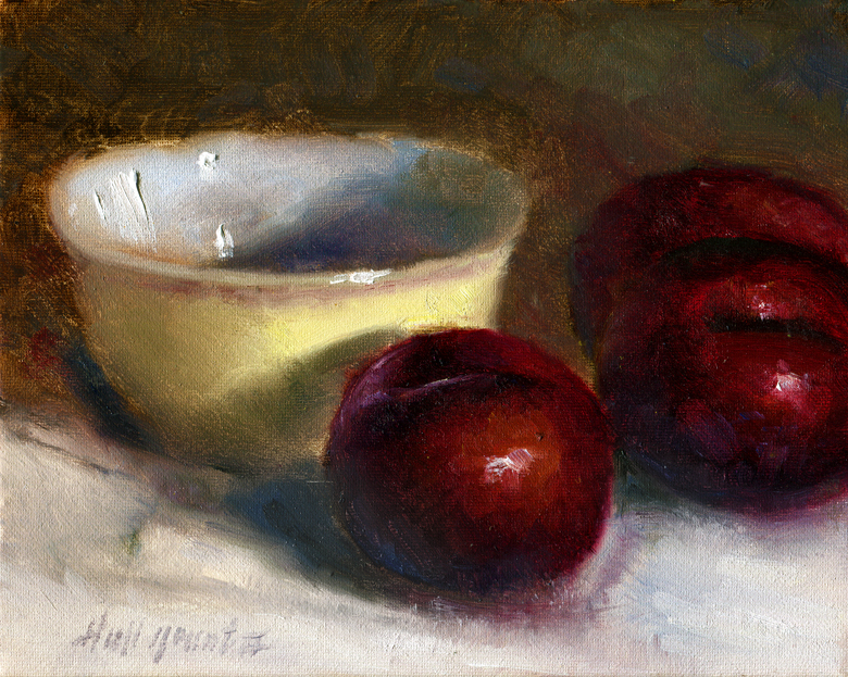 plums with bowl